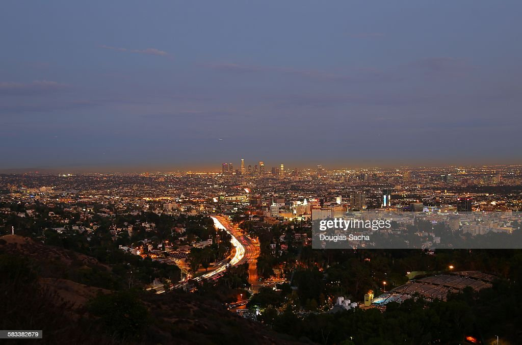 City lights at downtown Los Angeles : Stock Photo
