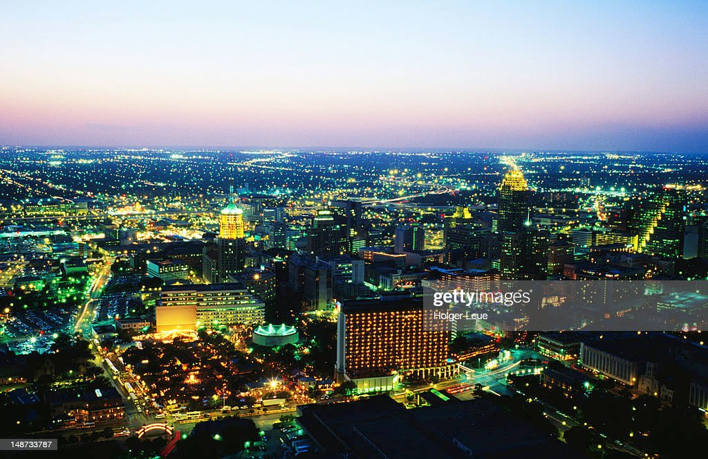 City lights  from Tower of the Americas. : Foto de stock