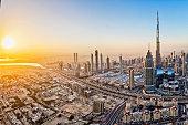City lights in Dubai at sunrise
