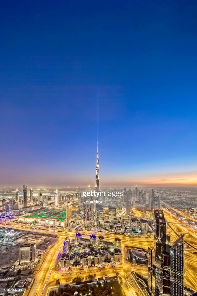 City Lights In Dubai At Sunset Xxl Panorama Stock Photo Getty Images