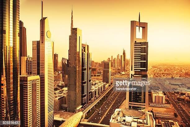 City lights of Dubai downtown