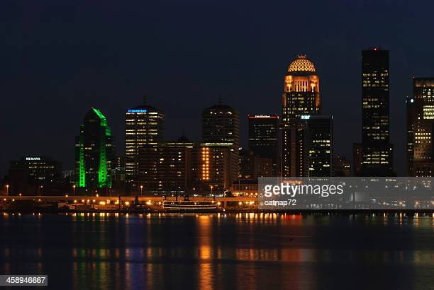 City Lights Reflected on Ohio River Water, Lousiville, KY