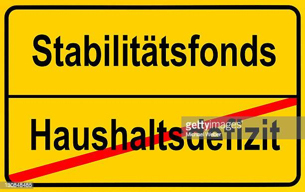 City limits sign, symbolic image, end of the federal deficit by European Stability Funds