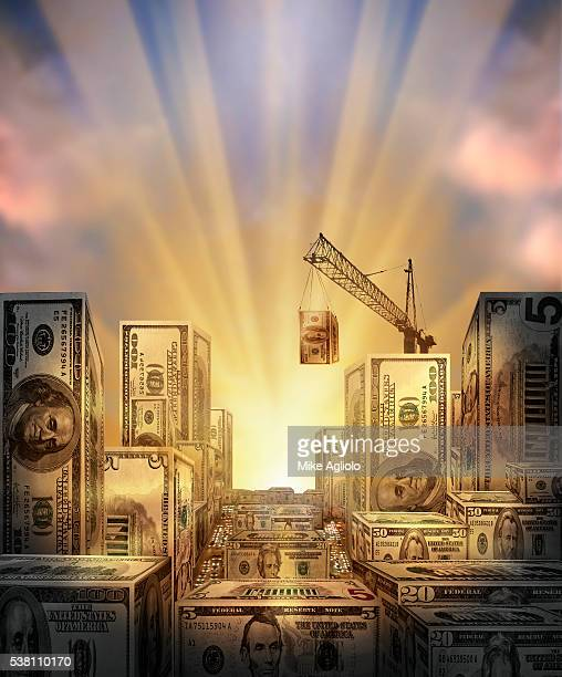 city made of money - mike agliolo stock pictures, royalty-free photos & images