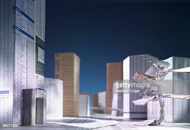 city made of newspaper