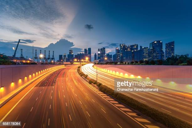 City main road heading to downtown district in Singapore