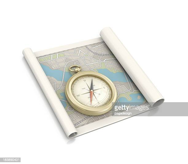 city map and compass