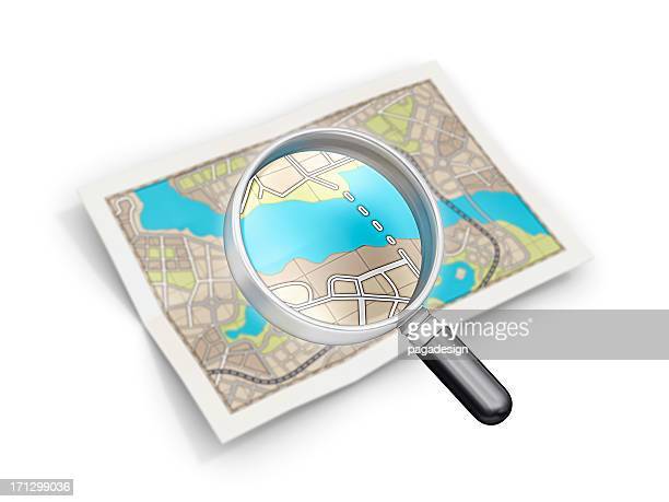 city map and loupe