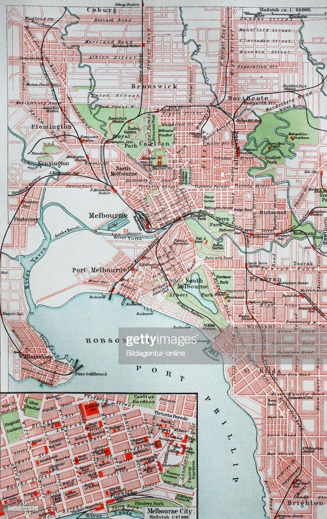 Melbourne Australia City Map.Melbourne Australia Digital Improved Reproduction Of An Original