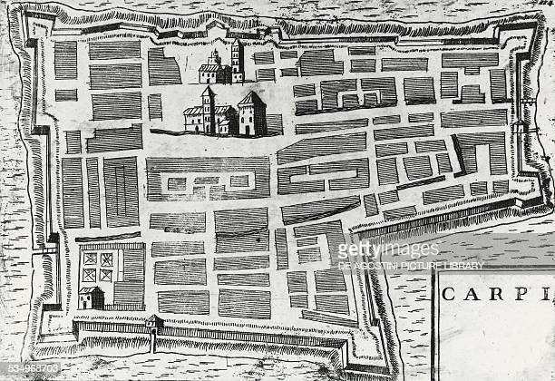 City map of Carpi engraving Italy 18th century