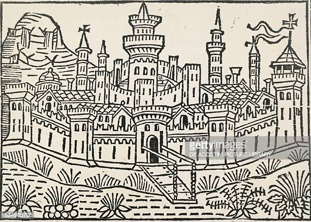 City map of Pistoia engraving from the end of 1500 Italy 16th century