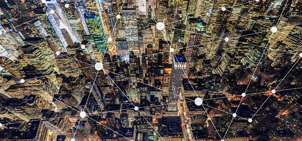 City Network and Blockchain of Manhattan at Night - gettyimageskorea