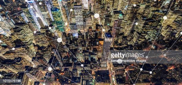 City Network and Blockchain of Manhattan at Night