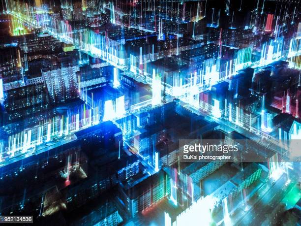 city network night - assistive technology stock pictures, royalty-free photos & images