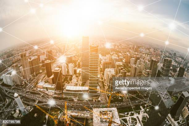 city network of beijing skyline - computer network stock pictures, royalty-free photos & images