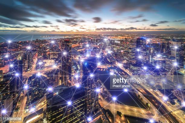 city network of downtown melbourne in victoria, australia. - wireless technology stock pictures, royalty-free photos & images