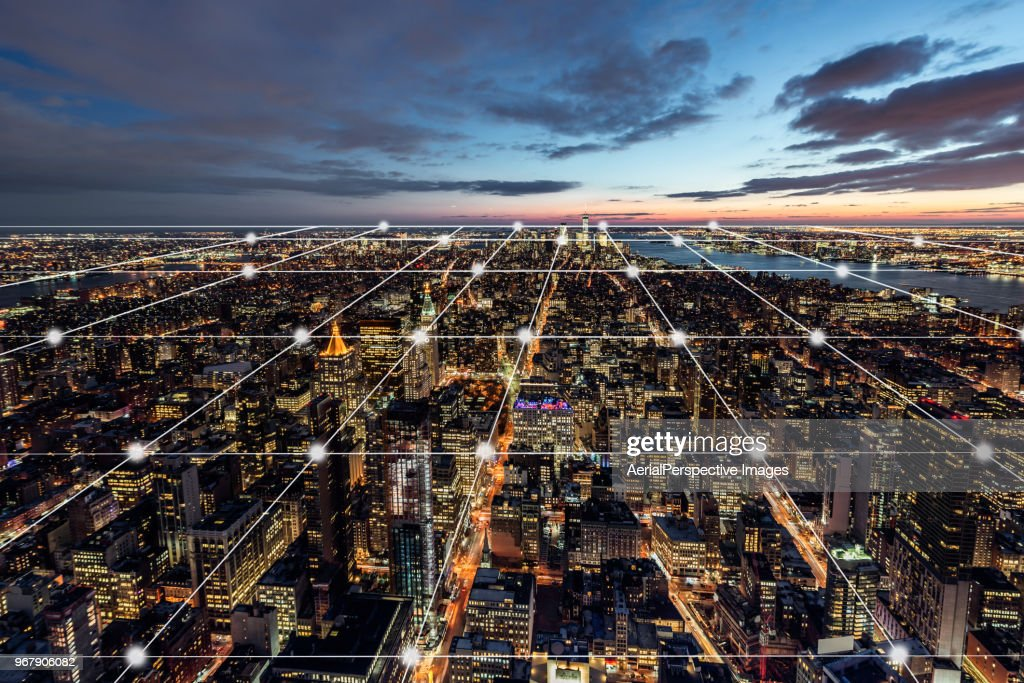 City Network of Manhattan Skyline : Stock Photo