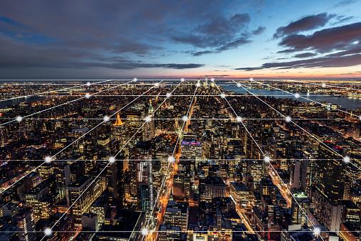 City Network of Manhattan Skyline - gettyimageskorea