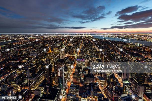 city network of manhattan skyline - cryptocurrency mining stock pictures, royalty-free photos & images