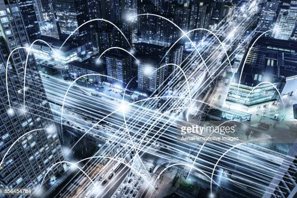 city network - time of day stock pictures, royalty-free photos & images