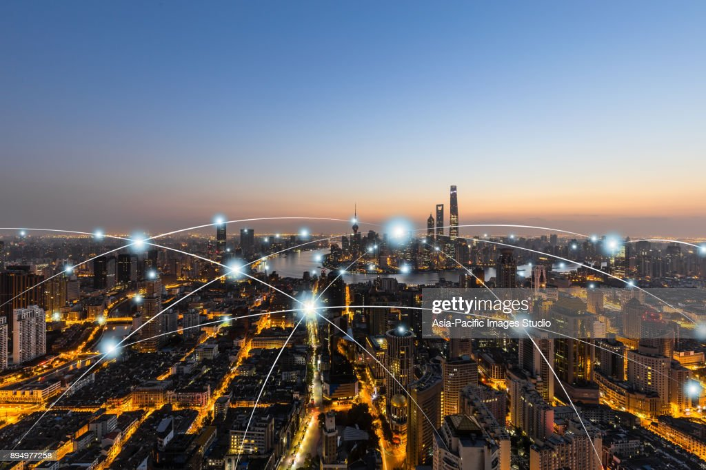 Tecnologia della rete della città a Shanghai, Cina : Foto stock