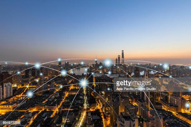 city network technology in shanghai,china - tower stock pictures, royalty-free photos & images