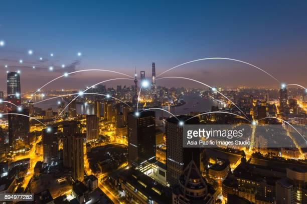 Stadt-Netzwerk-Technologie in Shanghai, China