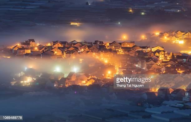City night at night in mist - Dalat  Vietnam