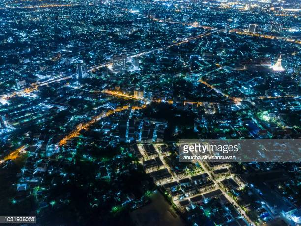 city night from the view point on top, thailand. - top foto e immagini stock