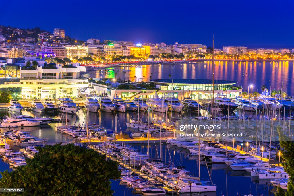 City night light in Cannes, France. : Stock Photo