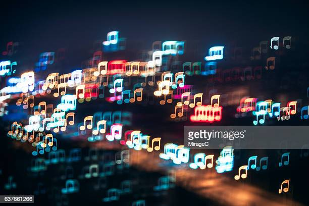 city night music melody - musical note stock photos and pictures