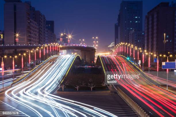 City night view Car taillight trajectory
