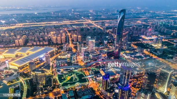 city nightscape of suzhou industrial park