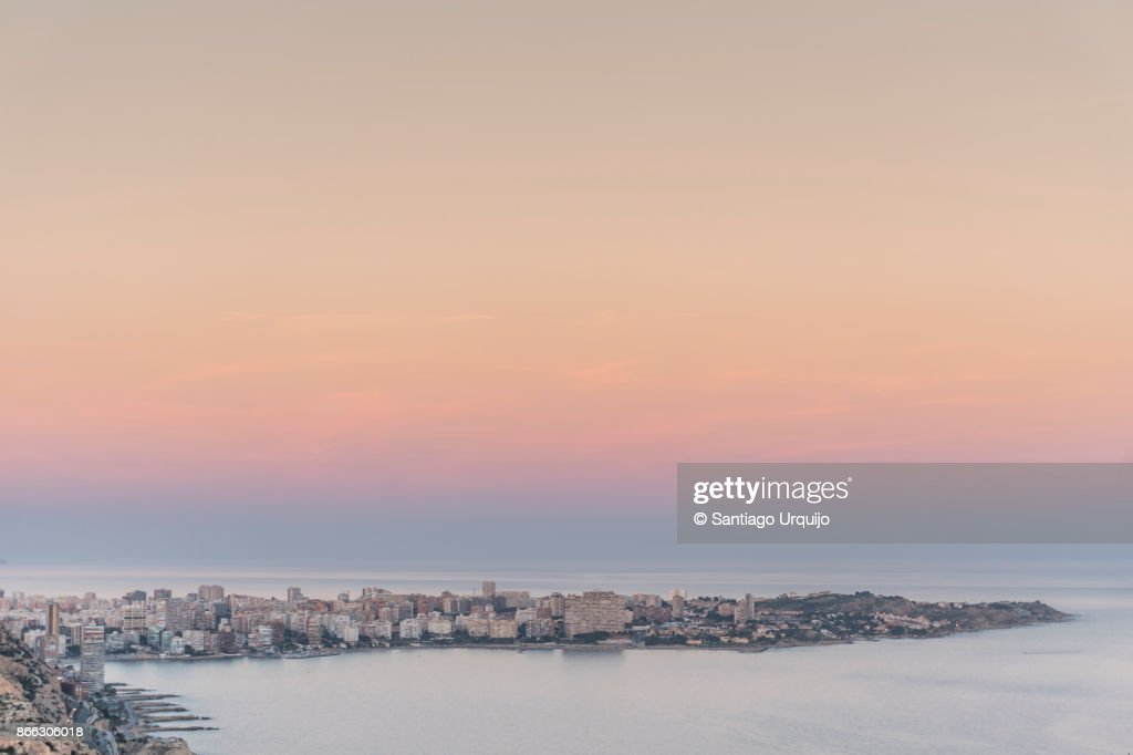 City of Alicante alongside the Mediterranean Sea at sunset, Valencia Region, Spain