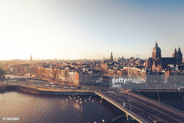 city of amsterdam, the netherlands - panoramic stock pictures, royalty-free photos & images