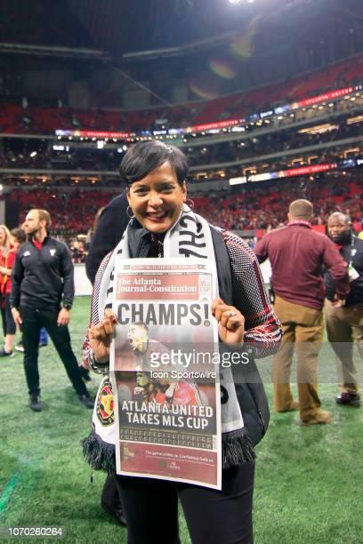 City of Atlanta Mayor Keisha Lance Bottoms celebrates Atlanta United FC winning the MLS Cup over the Portland Timbers on December 8 2018 at the...