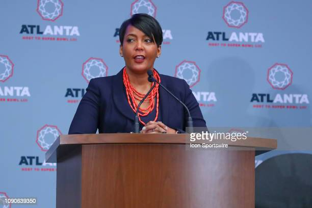 City of Atlanta Mayor Keisha Lance Bottoms speaks during the Super Bowl LIII Atlanta Host Committee Press Conference on January 28 2019 at the...