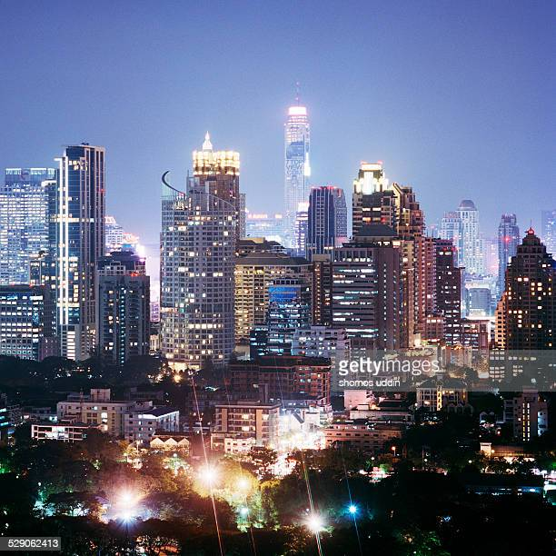 City of Bangkok glowing at dusk