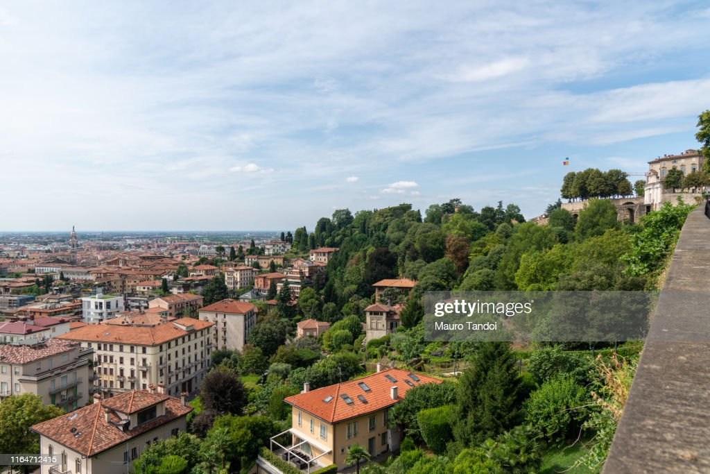 City of Bergamo, uppertown and downtown, Italy : Foto stock