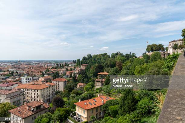 city of bergamo, uppertown and downtown, italy - mauro tandoi stock photos and pictures