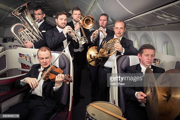 City of Birmingham Symphony Orchestra photographed on board a Qatar Airways Boeing 787 aircraft at Birmingham Airport Qatar Airways has been...