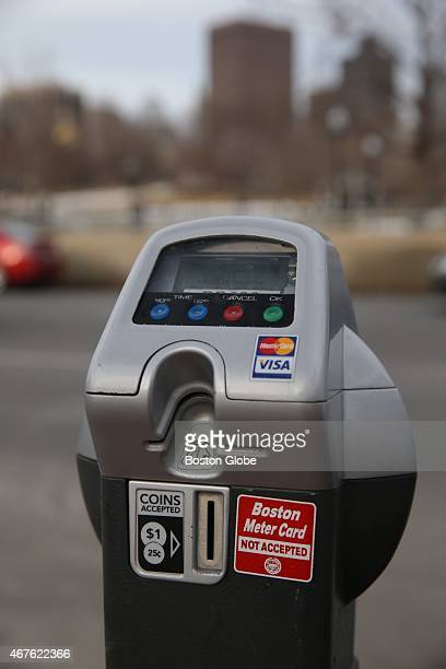 City of Boston parking meters can be paid by personal charge card or use coins