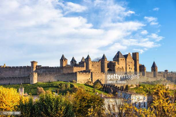 city of carcassonne seen from the new bridge, languedoc-roussillon, aude, occitanie, france - castle stock pictures, royalty-free photos & images