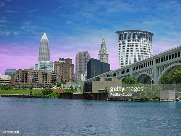city of cleveland and cuyahoga river. - cleveland ohio stock photos and pictures