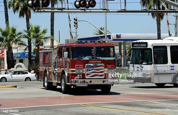City of Compton fire trucks responds to an emergency on July 19 2012 in Compton California The City of Compton located south of Los Angeles with a...