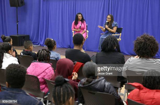 """City of Compton Mayor, Aja Brown and director Ava DuVernay attend a special advance private screeing of """"A Wrinkle in Time"""" attended by students from..."""
