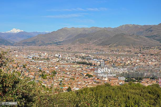 City of Cusco, Peru and Snow covered Mountain