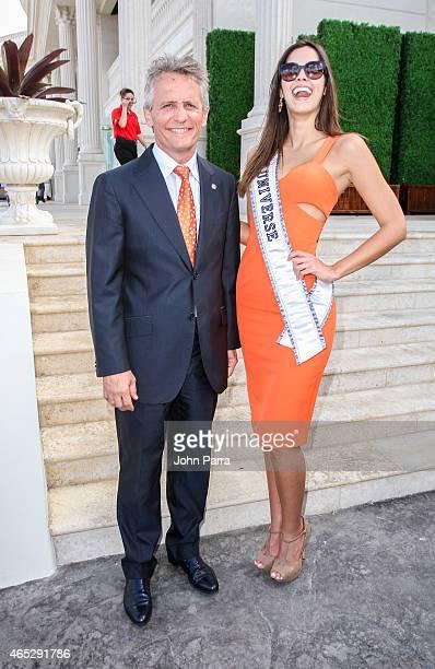 City Of Doral Mayor Luigi Borgia and Miss Universe Paulina Vega are seen around Trump National Doral on March 5, 2015 in Miami, Florida.
