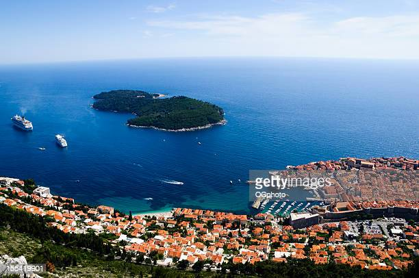 city of dubrovnik and lokrum island, croatia - ogphoto stock photos and pictures