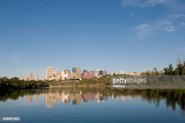 City of Edmonton skyscrapers reflected in river
